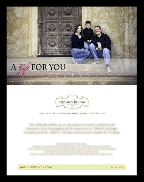 Photography Gift Certificates and Deadlines - Kansas City