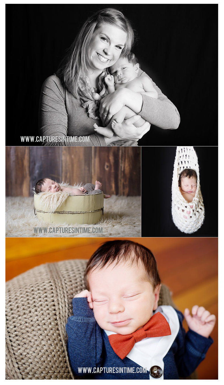 blue springs newborn photographer collage with bowtie