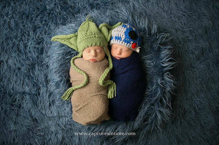 kansas city newborn photographer twins star wars r2d2 and yoda