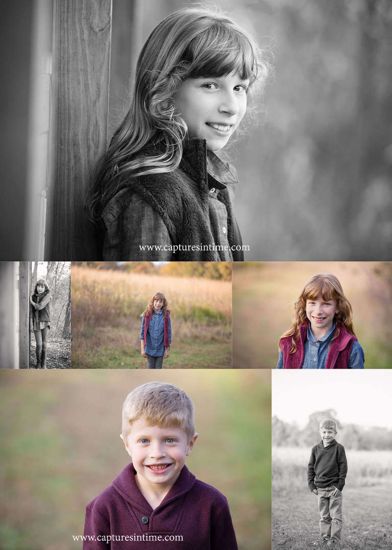 family photography kansas city girl and boy in woods and grasses