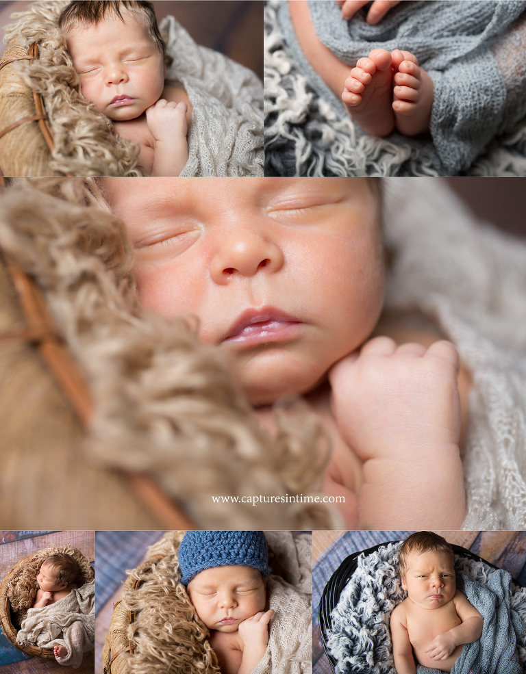 kansas city newborn pictures newborn collage with toes and funny face on fur rug