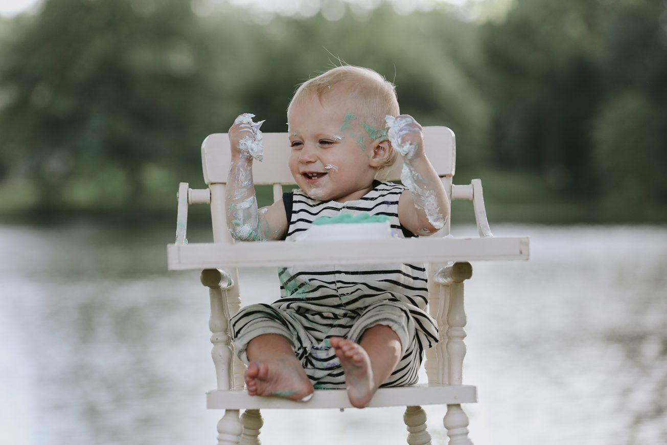 one year old in high chair