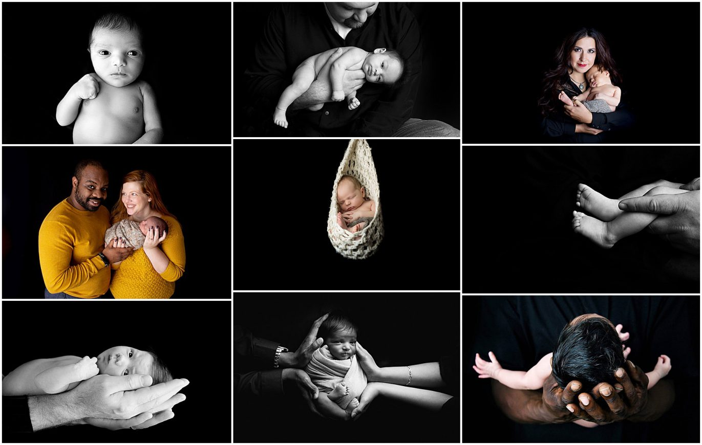 collage of portraits with black background