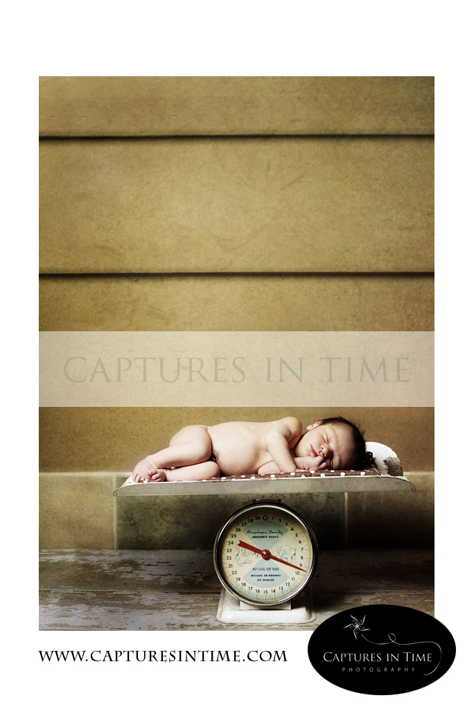 Kansas City Newborn Photographer baby on a vintage scale