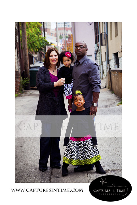 Family in alley kansas city bright colors