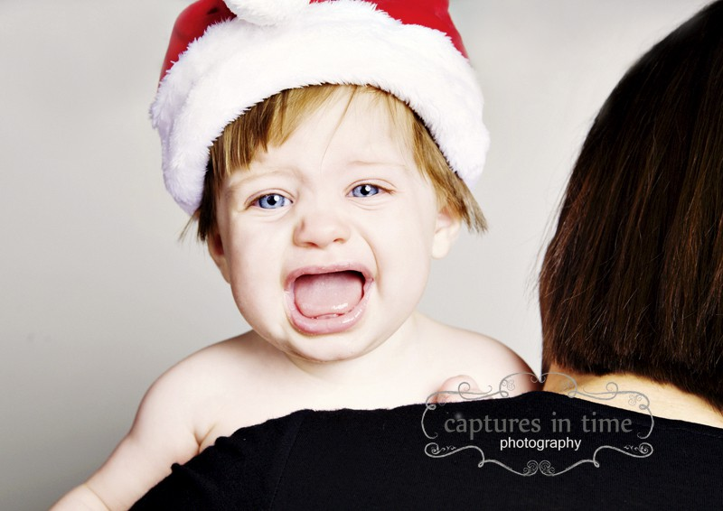 baby screaming face santa hat