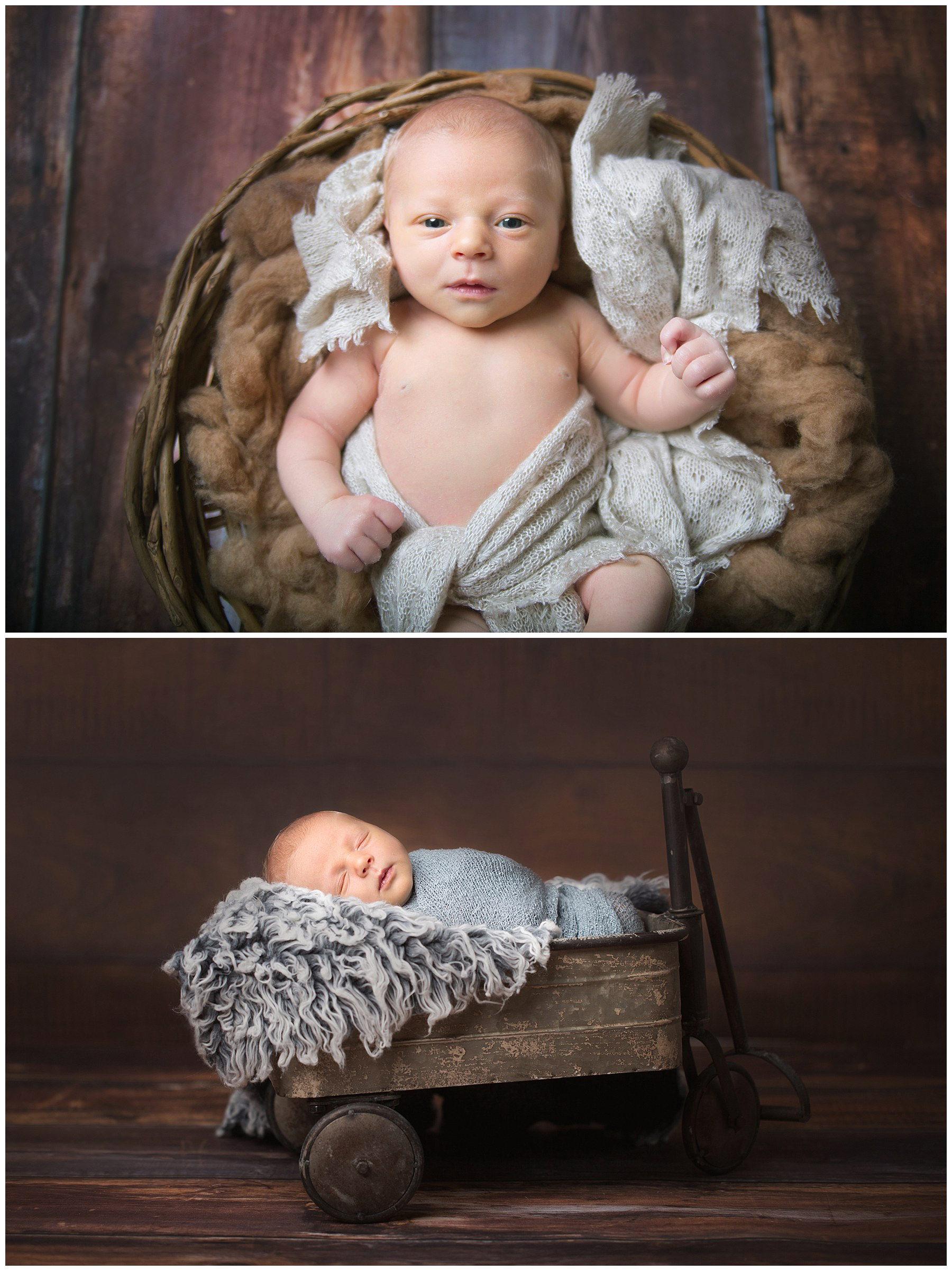 newborn photography newborn baby boy in rustic wagon and laying on brown wool