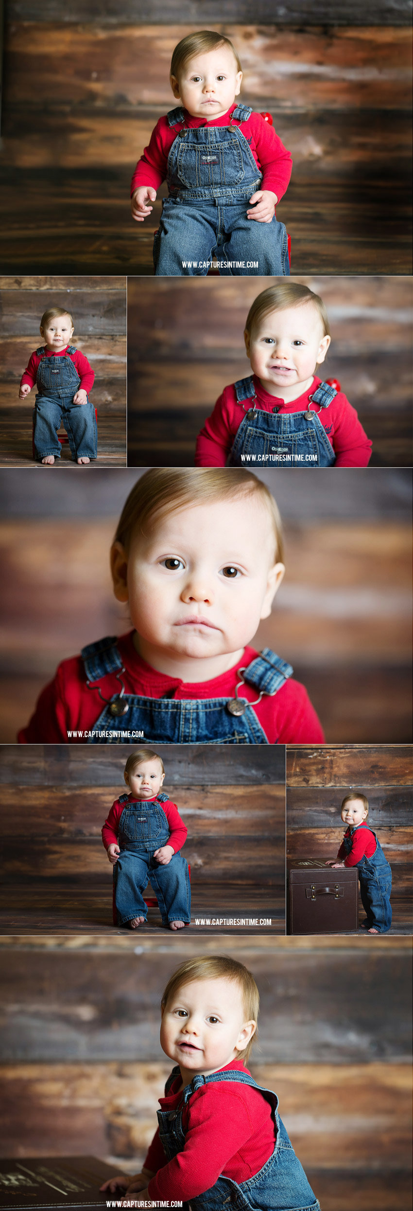 Kansas City Cake Smash Photo Session boy in overalls and red shirt on wood backdrop collage