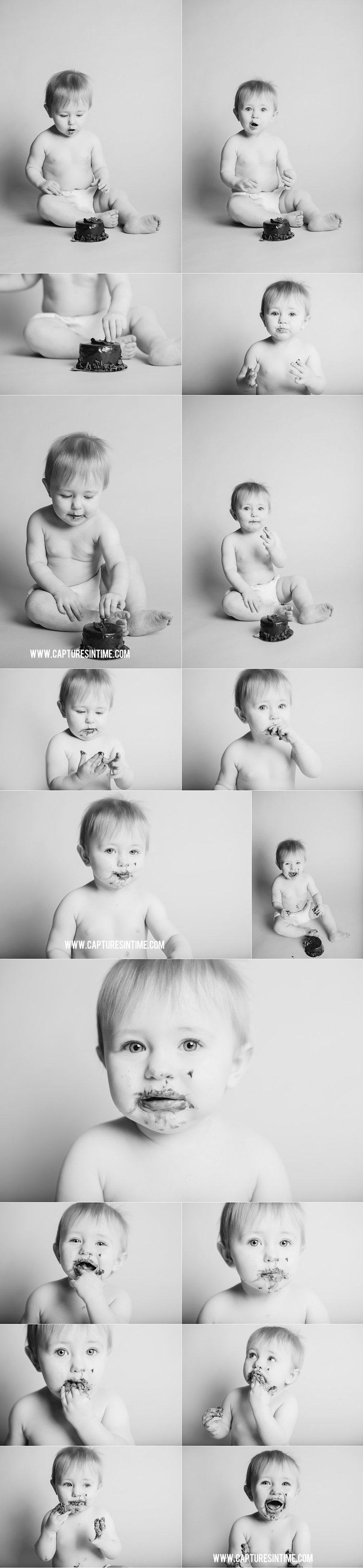 cake smash black and white college with lots cake on baby's face