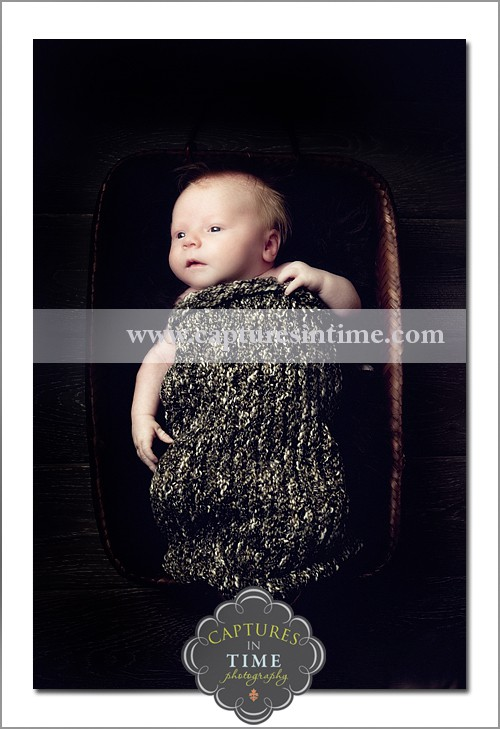 Kansas City Newborn Photographer baby in knit sack