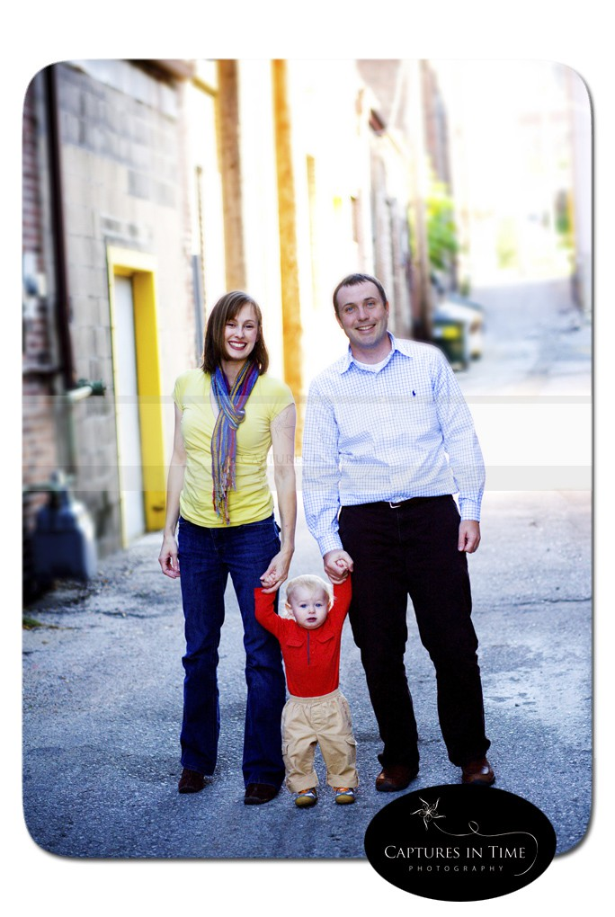 family in urban setting boy with red shirt Kansas City