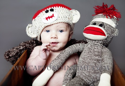 Sock Monkey Hat on baby