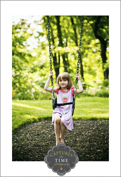 North Kansas City Child Photographer girl on a swing