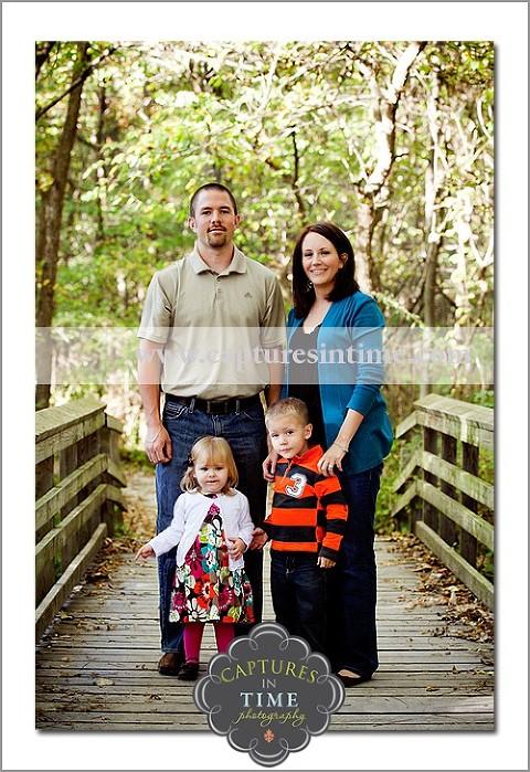 family on bridge Burr Oaks