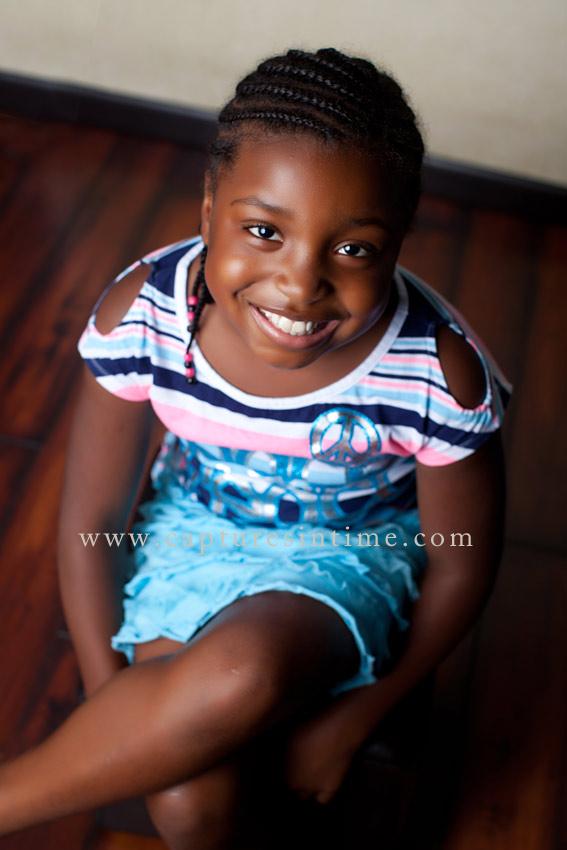 Blue Springs Child Photographer pretty girl striped shirt
