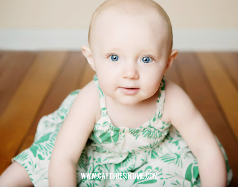 Clover 6 month baby pictures green dress