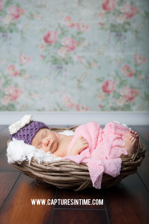 newborn girl purple hat