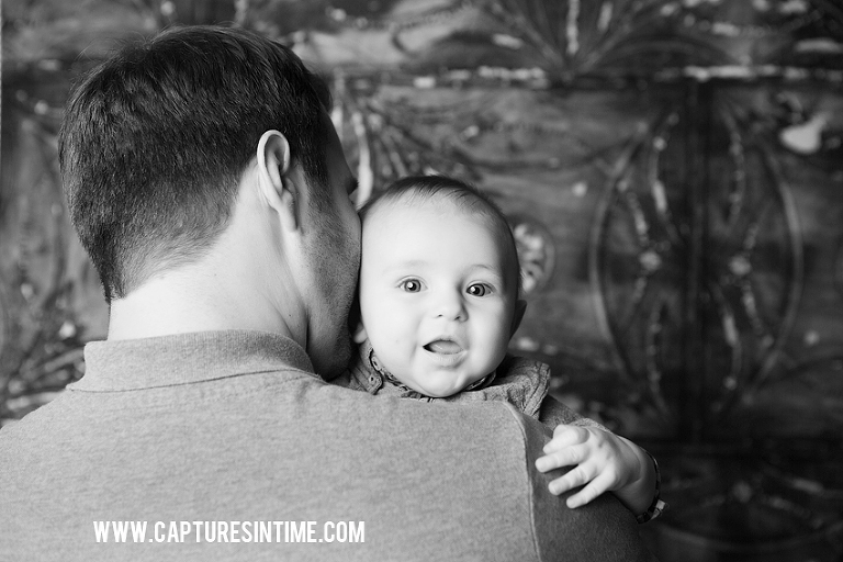 Kansas City Baby Photographer Four Month Portraits Dad Holding Baby