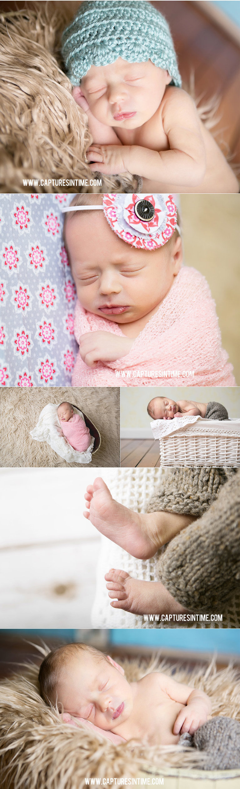 Grain Valley Newborn Photography newborn baby with teal hat and Amy Butler fabrics