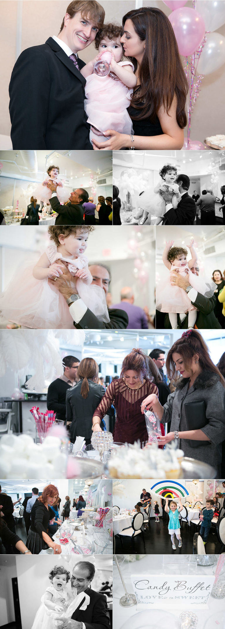 Kansas City Event Photographer Elle Turns One first birthday party girl with parents collage