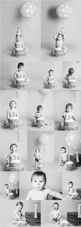 Kansas City Cake Smash Photo Session collage black and white