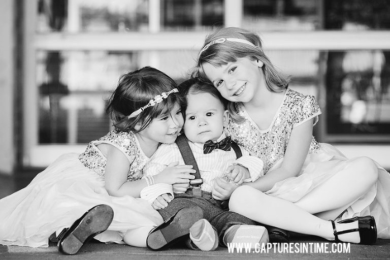 black and white image of children hugging in KC Rivermarket