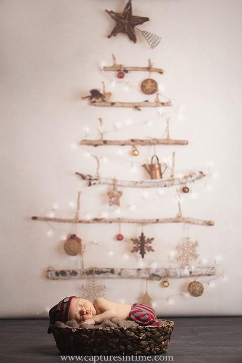 vintage christmas tree newborn sleeping