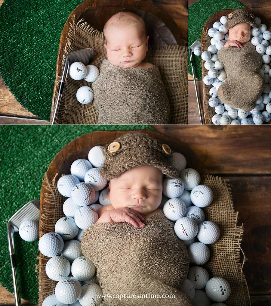 Kansas City Golf Newborn Photography Golf Newborn laying in golf balls with putting green and putter