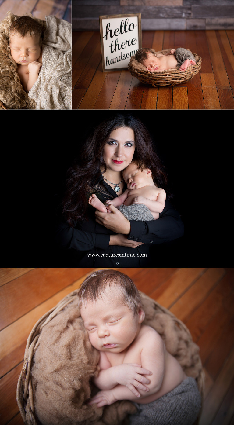 kansas city newborn pictures newborn boy with mom and hello there handsome sign