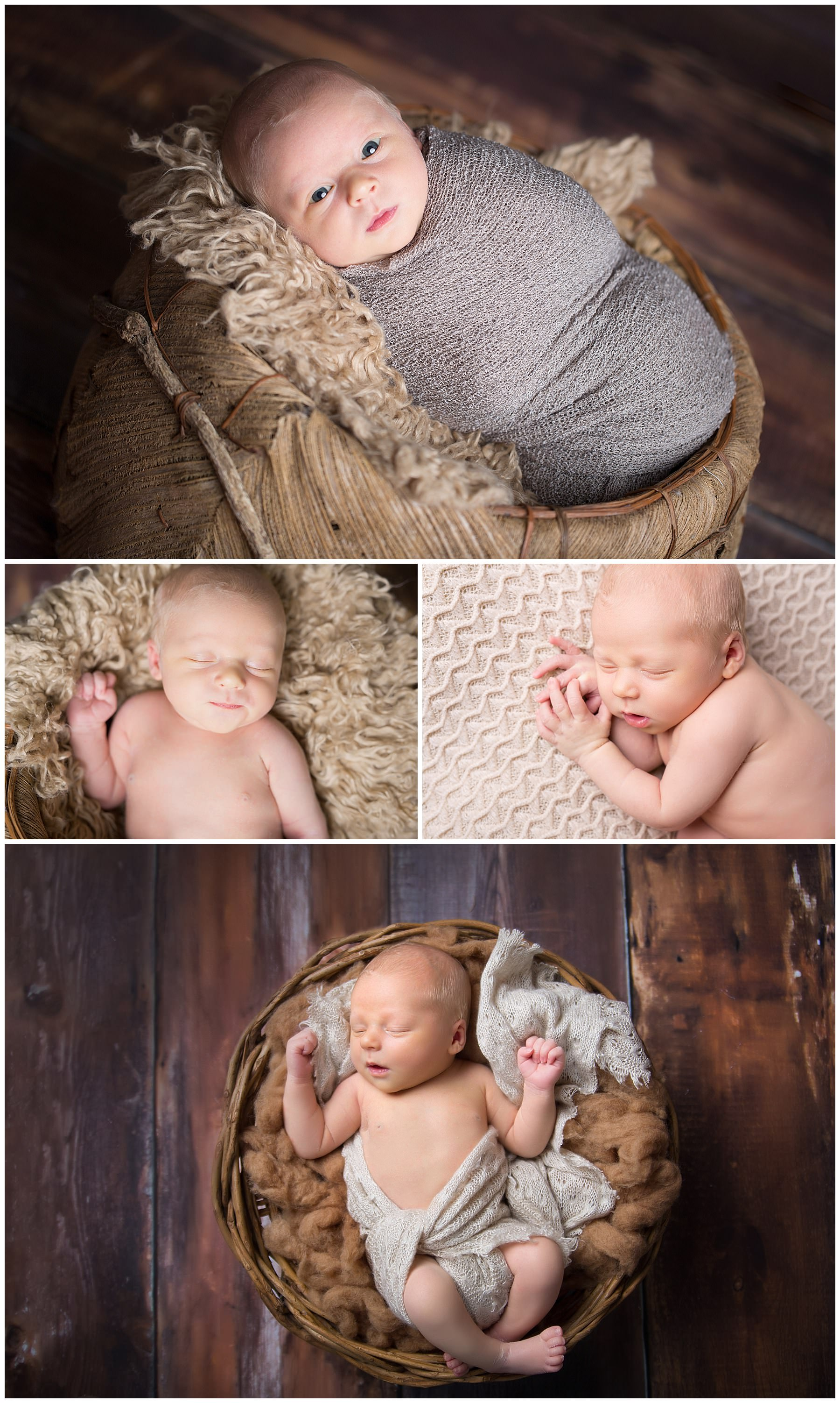 newborn photography newborn baby boy collage swaddled laying on curly brown blanket and wool wood flooring