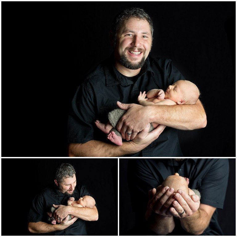newborn photography dad with curly hair holding his newborn baby